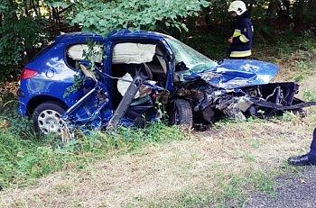 Samochód uderzył w drzewo i wpadł do rowu-9074
