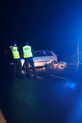 Wypadek skutera i samochodu osobowego w Pudliszkach-9243