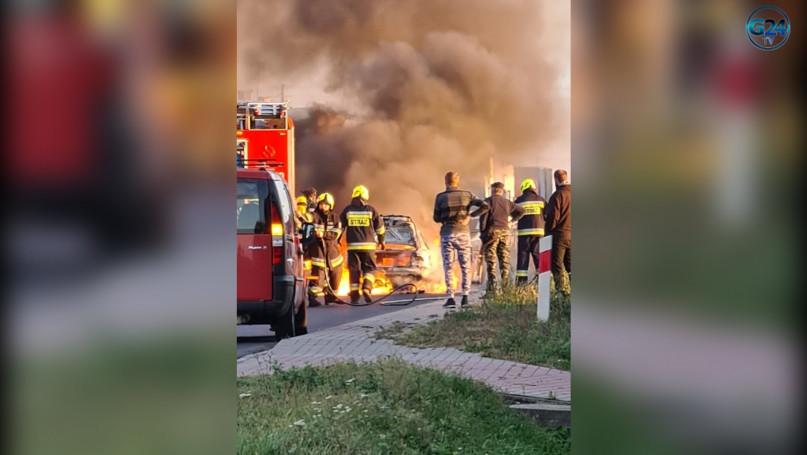 Pożar auta w miejscowości Żychlewo